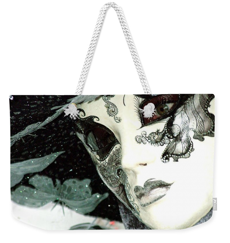 Costume Weekender Tote Bag featuring the photograph Silver Lacy Eyes by Donna Corless