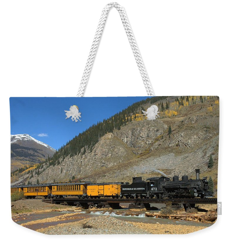 Durango Weekender Tote Bag featuring the photograph Silverton Train by Jerry McElroy