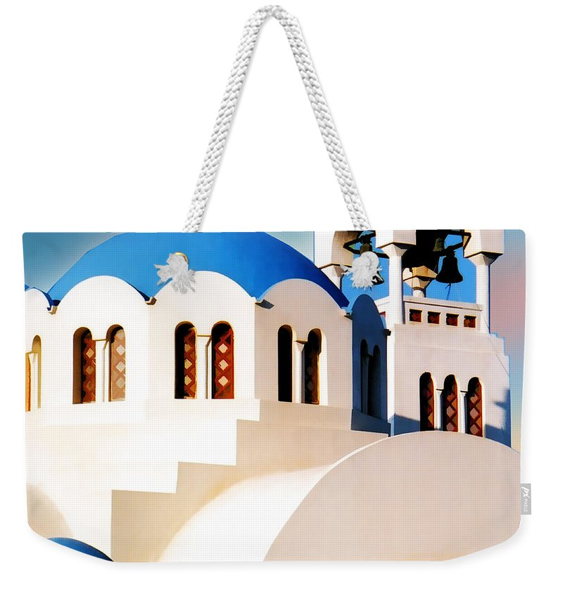 Church Building Structure Religion Religious Architecture Greece Greek Mediterranean Blue Cross Bell Bell+tower Weekender Tote Bag featuring the painting Simple Graphic Greek Church by Elaine Plesser