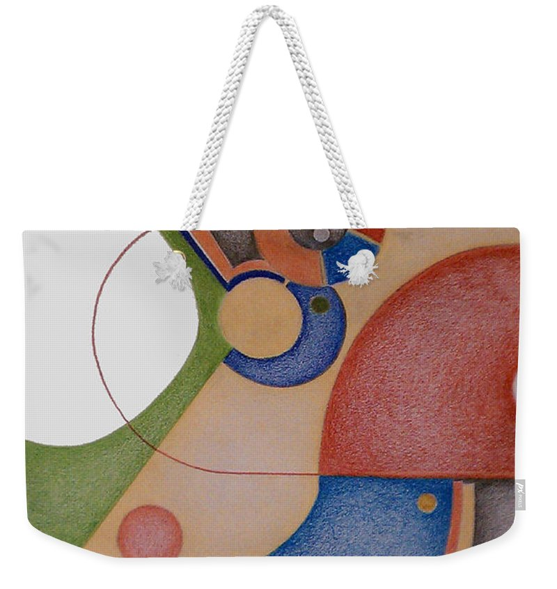 Abstract Weekender Tote Bag featuring the digital art Simple Machine I by Carol Jacobs