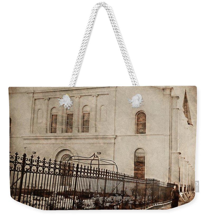 Church Weekender Tote Bag featuring the digital art Simpler Times by Erika Weber