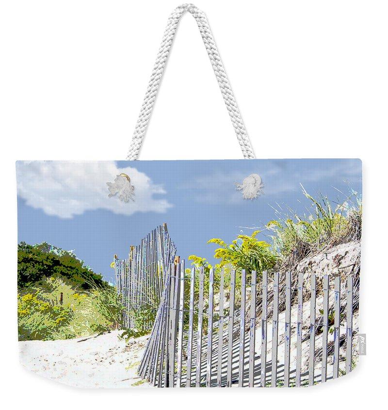 Beach Weekender Tote Bag featuring the painting Simplified View Of Coastal Dune by Elaine Plesser