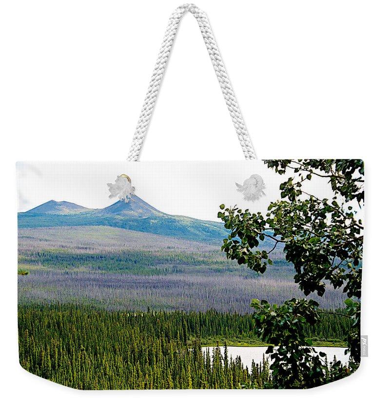 Simpson Peak At Swan Lake Weekender Tote Bag featuring the photograph Simpson Peak At Swan Lake-yt by Ruth Hager