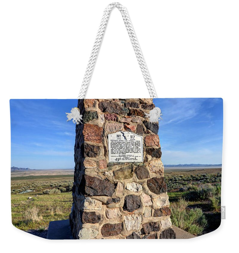 Simpson Weekender Tote Bag featuring the photograph Simpson Springs Pony Express Station Monument - Utah by Gary Whitton