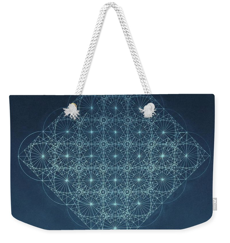 Fractal Weekender Tote Bag featuring the drawing Sine Cosine and Tangent Waves by Jason Padgett