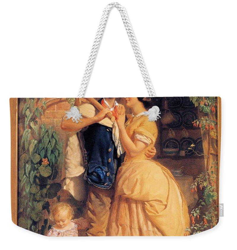 George Elgar Hicks Weekender Tote Bag featuring the digital art Sinews Old England by George Elgar Hicks