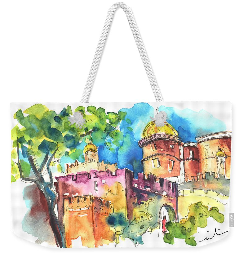 Travel Weekender Tote Bag featuring the painting Sintra Castle 02 by Miki De Goodaboom