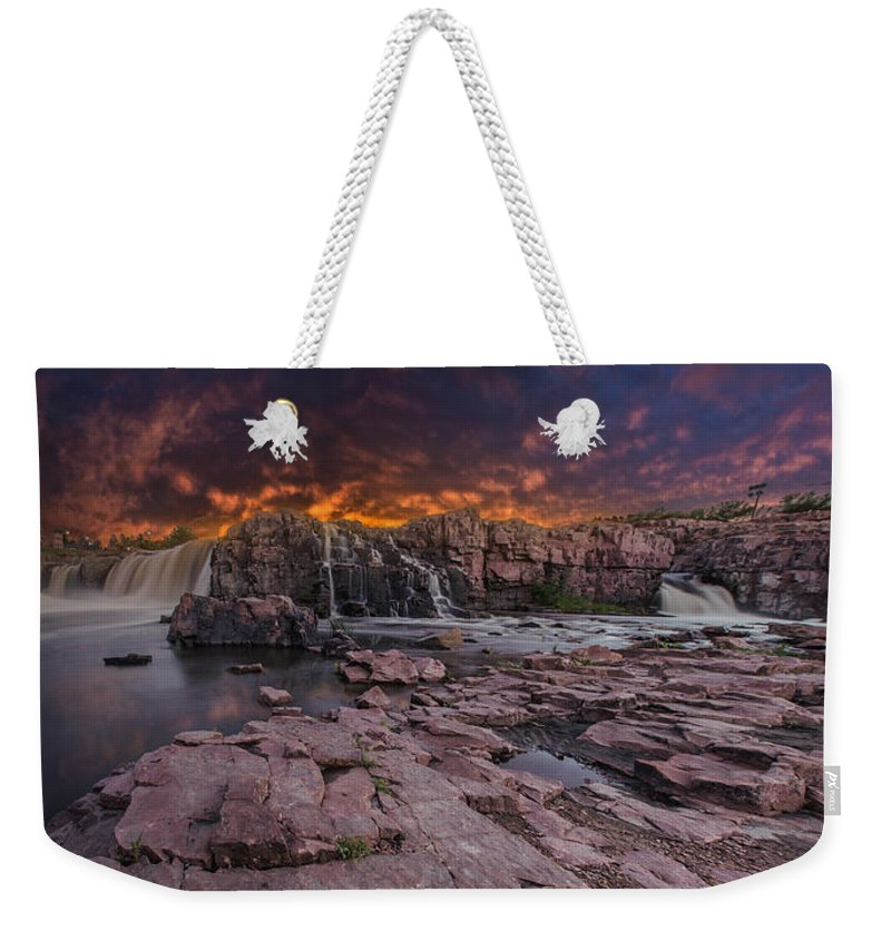 Sunset Weekender Tote Bag featuring the photograph Sioux Falls by Aaron J Groen