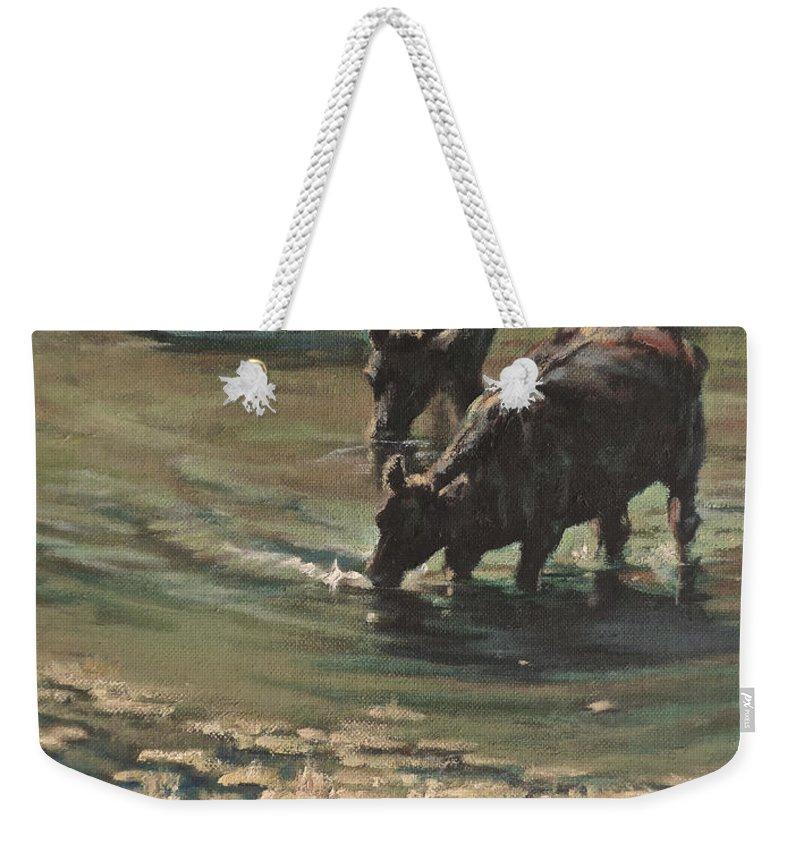 Cows Bovine Weekender Tote Bag featuring the painting Sip N Dip by Mia DeLode