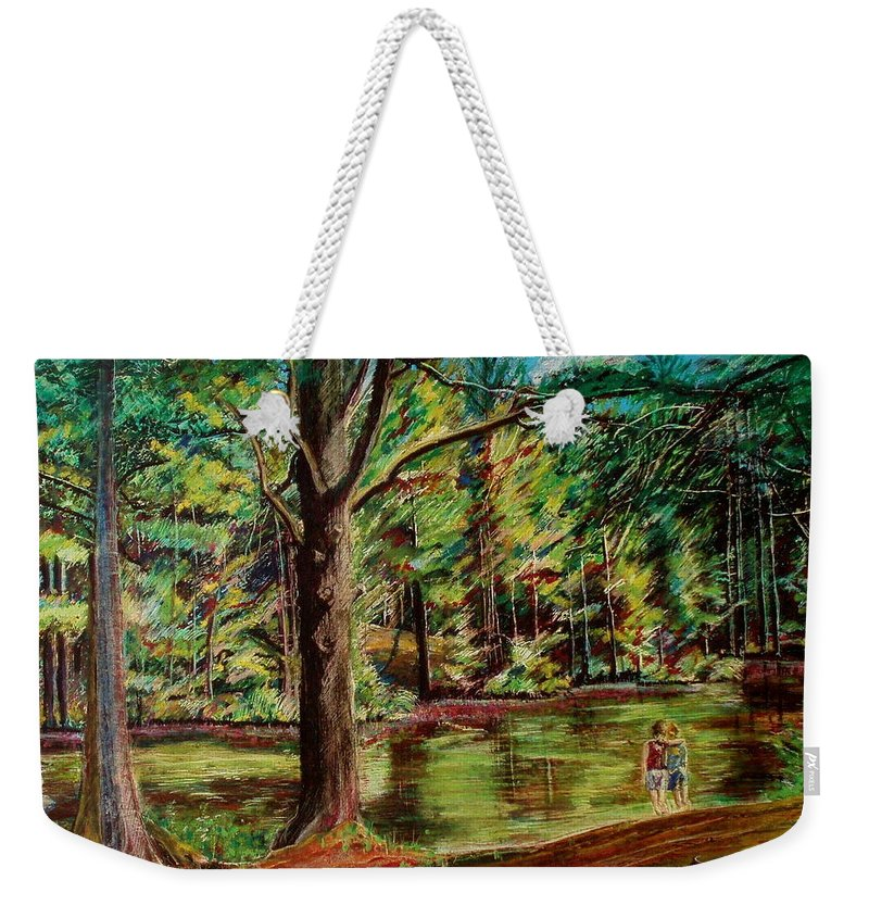 New Hampshire Weekender Tote Bag featuring the pastel Sisters At Wason Pond by Sean Connolly