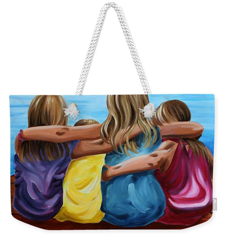 Pier Weekender Tote Bag featuring the painting Sisters by Debbie Hart