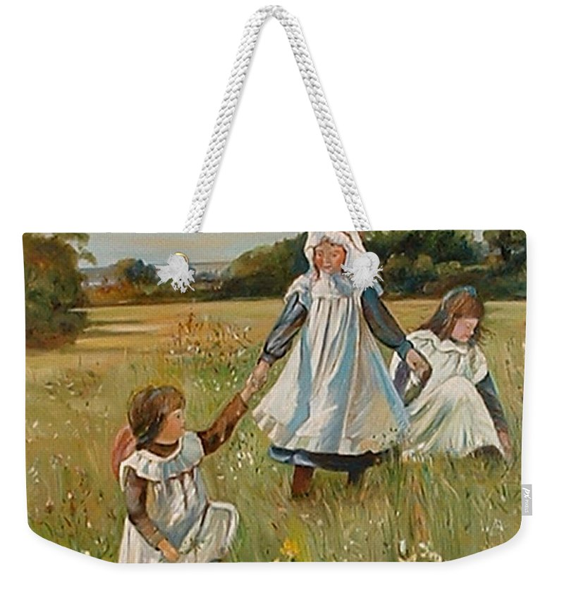 Classic Art Weekender Tote Bag featuring the painting Sisters by Silvana Abel