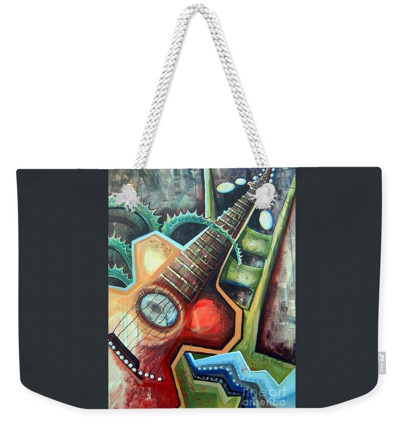 Music Weekender Tote Bag featuring the painting Sit Down Play by Linda Shackelford