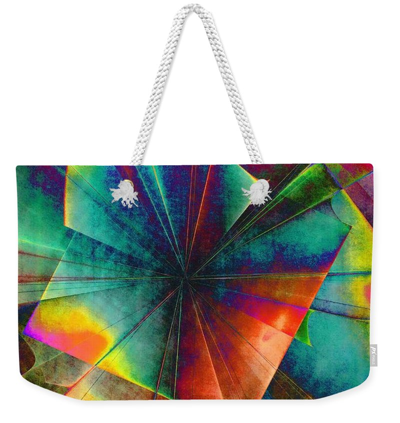 Abstract Weekender Tote Bag featuring the digital art Sit With Me On The Carousel by Klara Acel