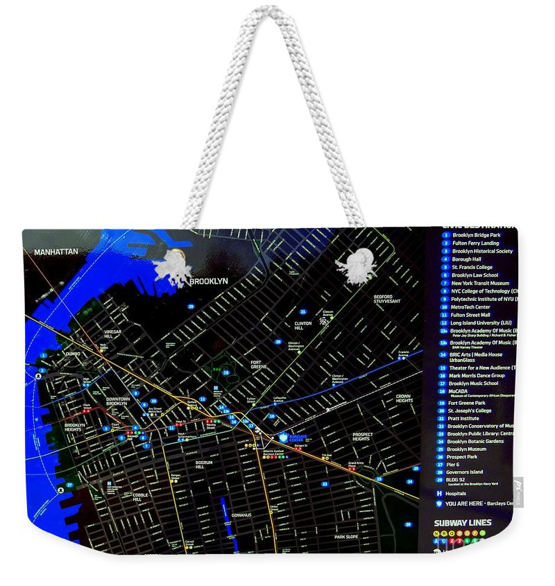 Map Weekender Tote Bag featuring the photograph Sites And Subways by Ed Weidman