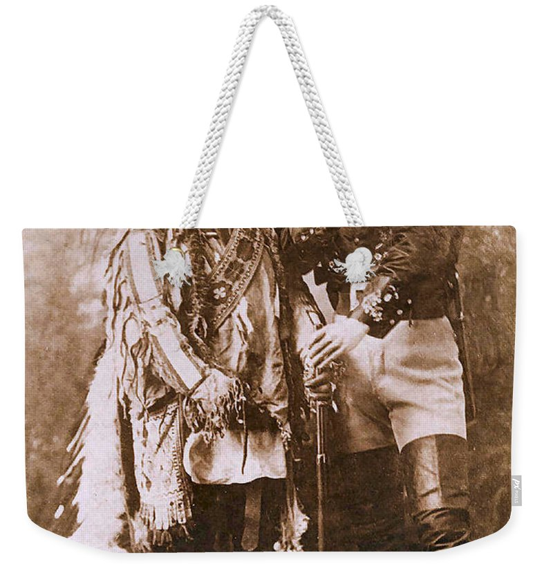 Sitting Bull And Buffalo Bill Weekender Tote Bag featuring the photograph Sitting Bull And Buffalo Bill by Unknown