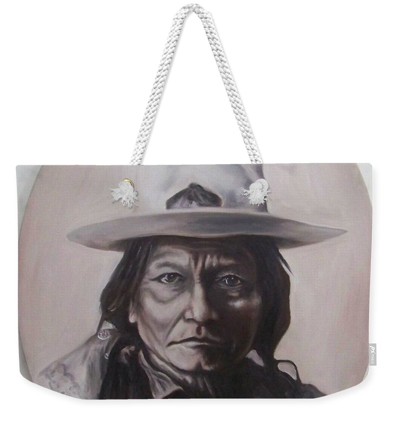 Michael Weekender Tote Bag featuring the painting Sitting Bull by Michael TMAD Finney
