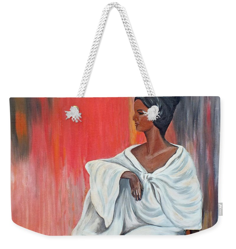 Chris Mccullough Weekender Tote Bag featuring the painting Sitting Lady In White Next To A Red Wall by Chris McCullough