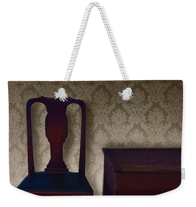 Chair Weekender Tote Bag featuring the photograph Sitting Room At Dusk by Margie Hurwich