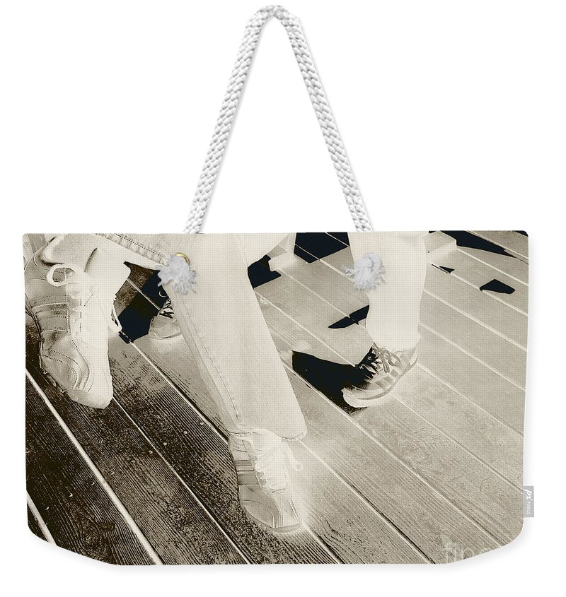 Sneakers Weekender Tote Bag featuring the photograph Sitting Together-duotone by CR Leyland