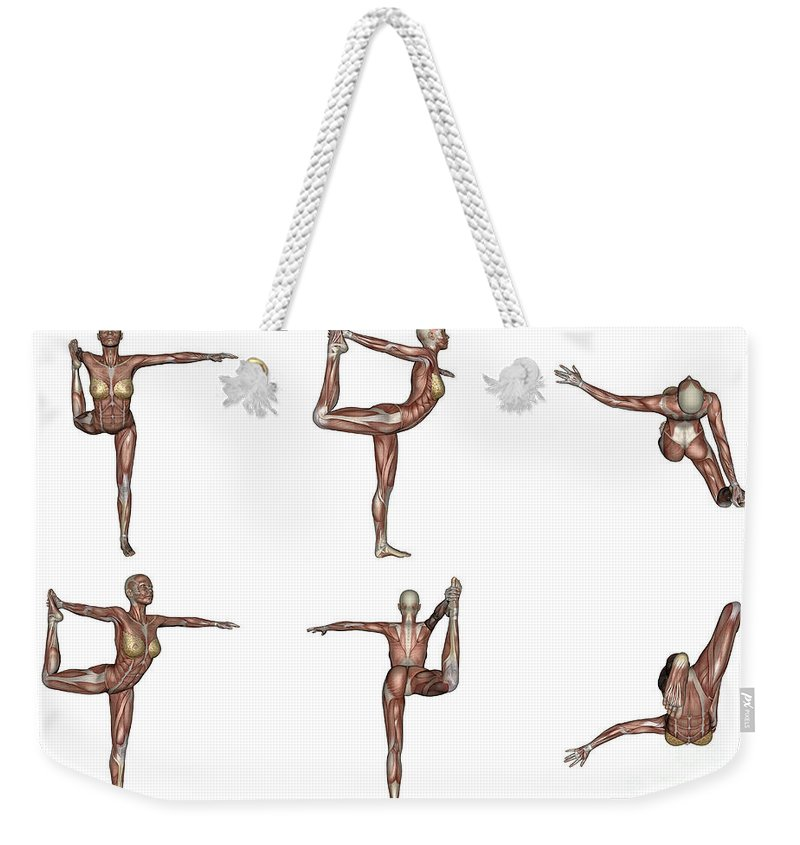Yoga Weekender Tote Bag featuring the digital art Six Different Views Of Dancer Yoga Pose by Elena Duvernay