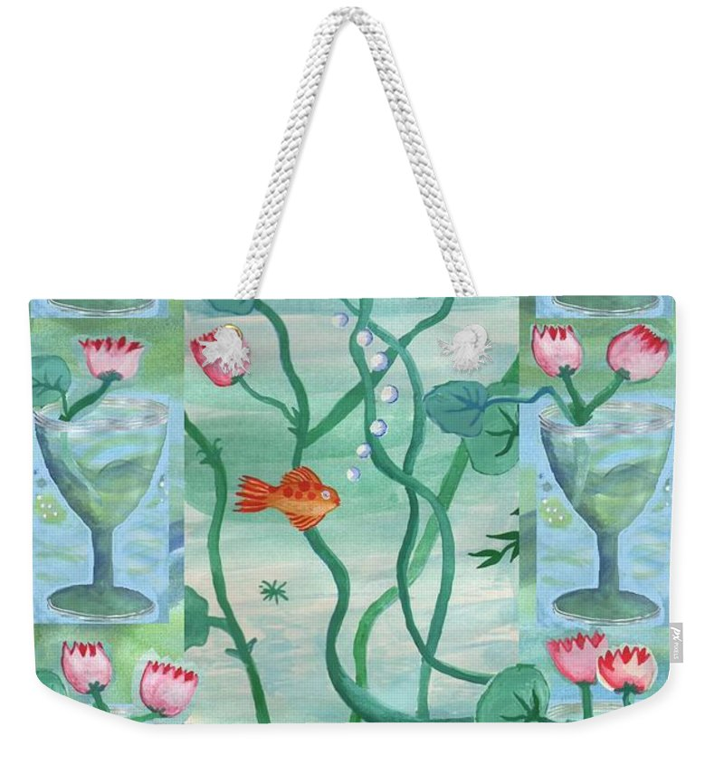 Tarot Weekender Tote Bag featuring the painting Six Of Cups by Sushila Burgess