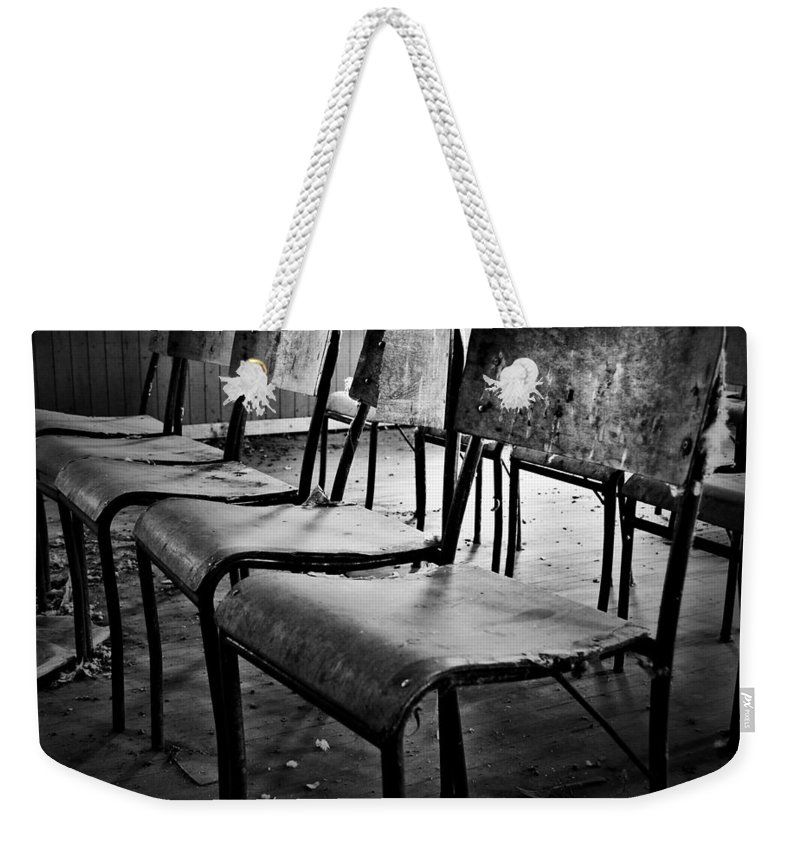 Chairs Weekender Tote Bag featuring the photograph Sixth Seat by The Artist Project