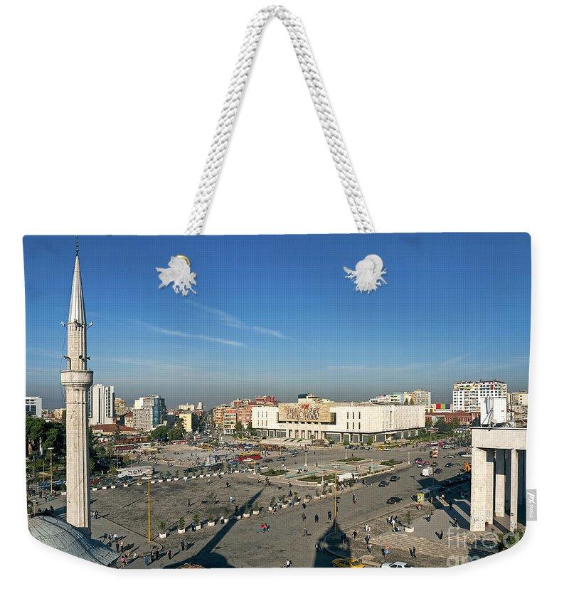Adriatic Weekender Tote Bag featuring the photograph Skanderberg Square In Tirana Albania by Jacek Malipan