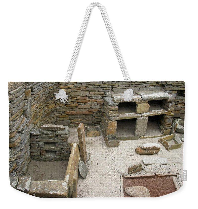 Skara Brae Weekender Tote Bag featuring the photograph Skara Brae Boudoir by Denise Mazzocco
