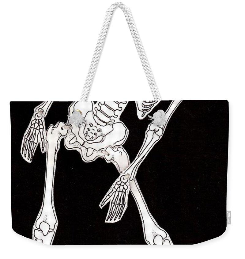 Skeleton Weekender Tote Bag featuring the drawing Skeleton by Oleg Konin