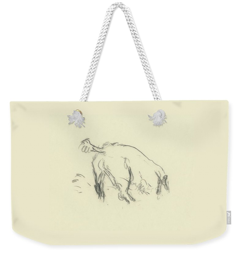 Fashion Weekender Tote Bag featuring the digital art Sketch Of A Dog Digging A Hole by Carl Oscar August Erickson