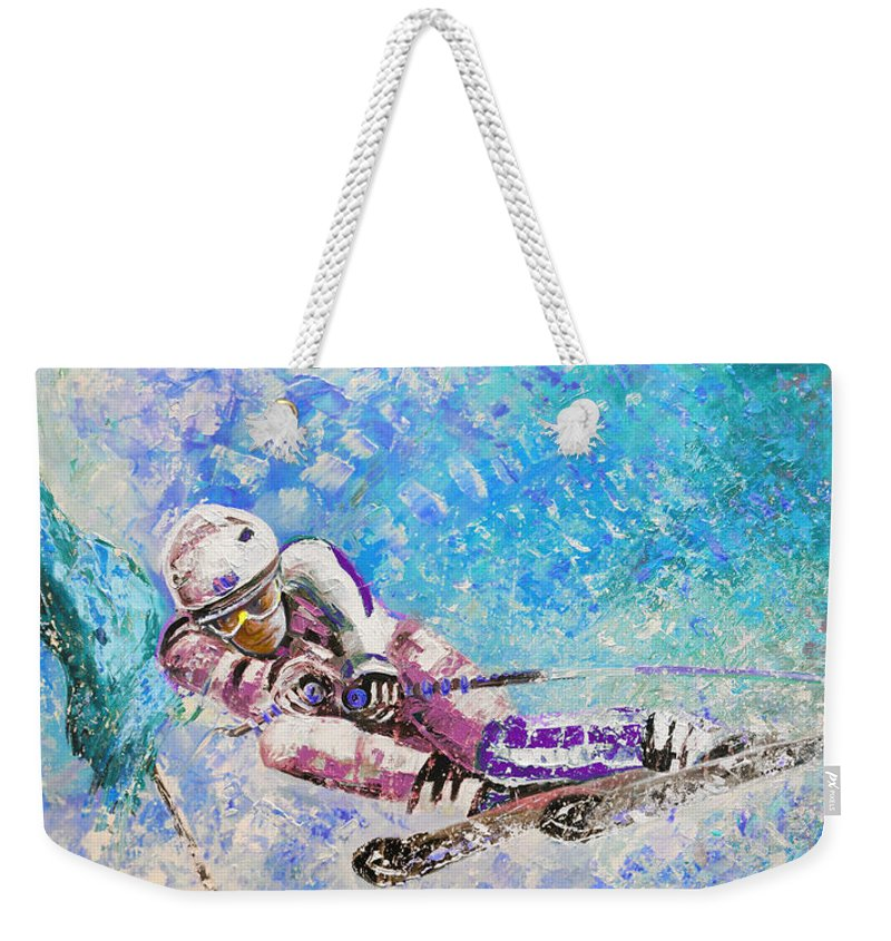Sports Weekender Tote Bag featuring the painting Skiing 06 by Miki De Goodaboom