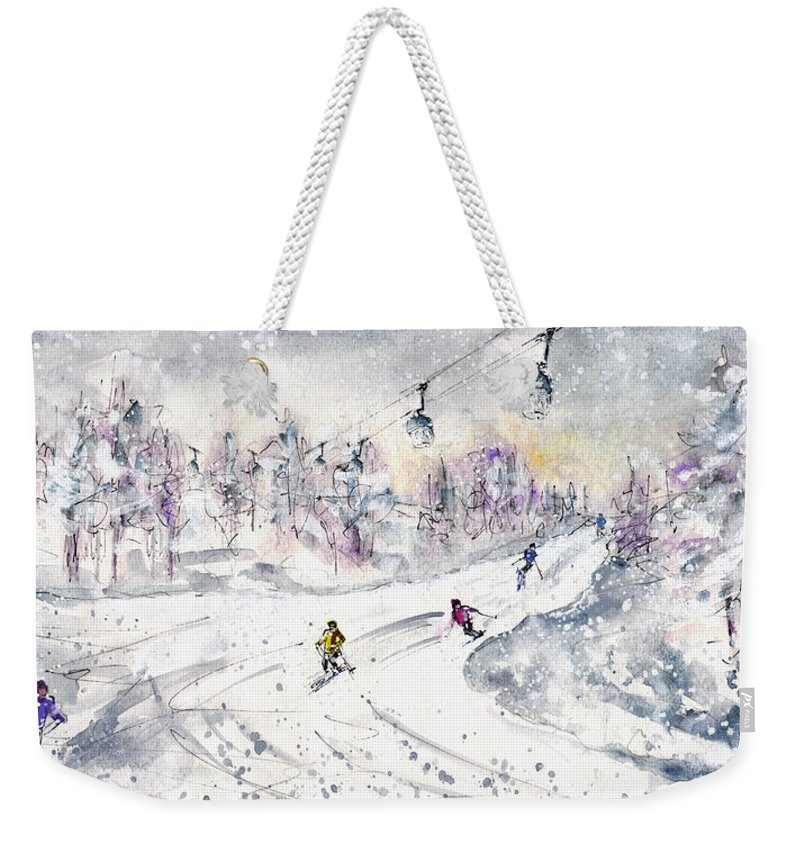 Travel Weekender Tote Bag featuring the painting Skiing In The Dolomites In Italy 01 by Miki De Goodaboom