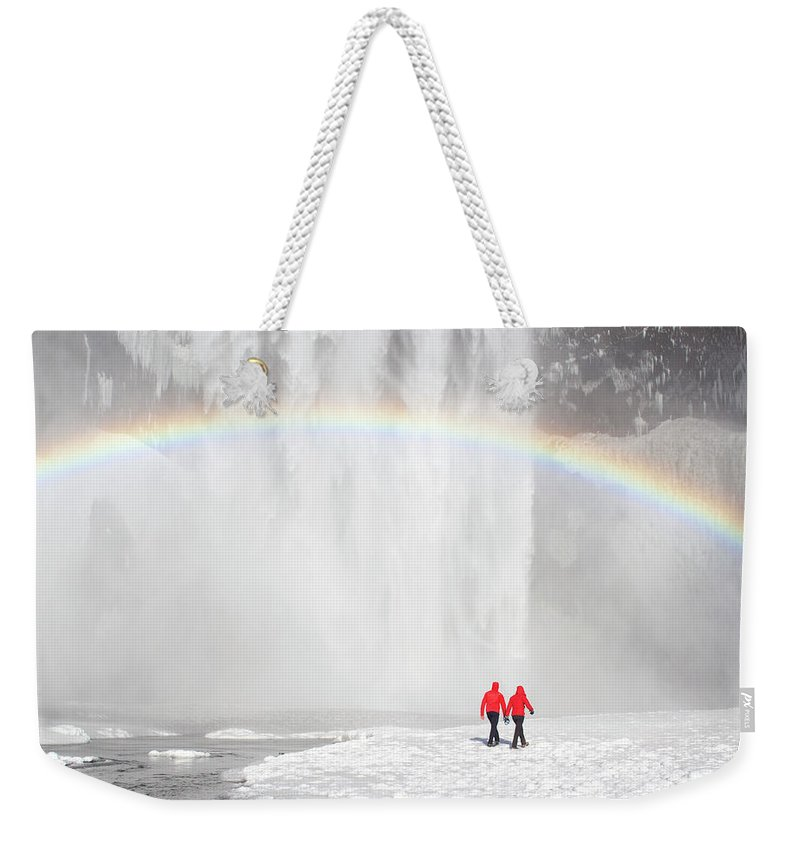 Scenics Weekender Tote Bag featuring the photograph Skogafoss Waterfall, Iceland by Travelpix Ltd