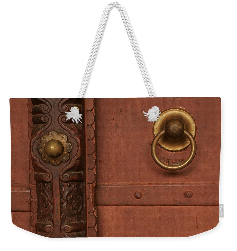 Strong Weekender Tote Bag featuring the photograph Skc 0399 Door Art by Sunil Kapadia