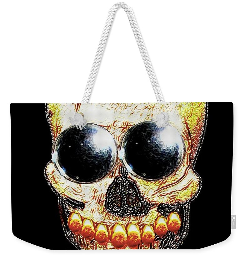 Skull Weekender Tote Bag featuring the mixed media Skull Art In A Surrealism Definition by Pepita Selles