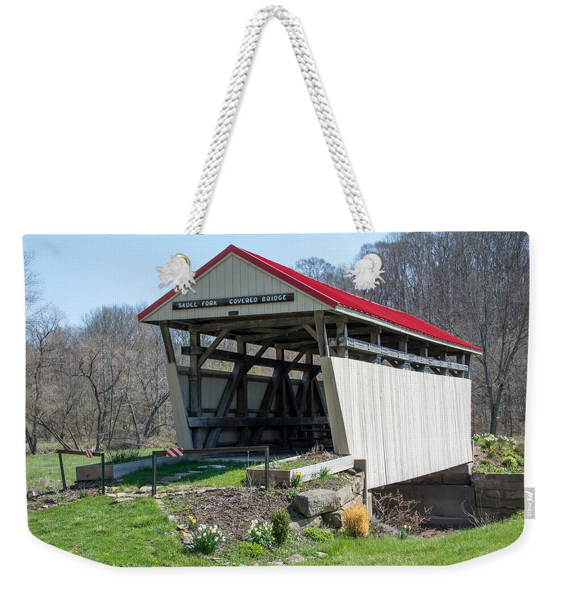 Bridges Weekender Tote Bag featuring the photograph Skull Fork Covered Bridge by Guy Whiteley