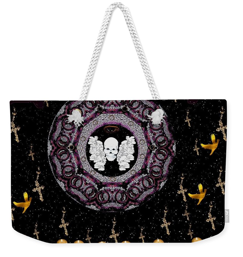 Skull Weekender Tote Bag featuring the mixed media Skull Night In Peace by Pepita Selles
