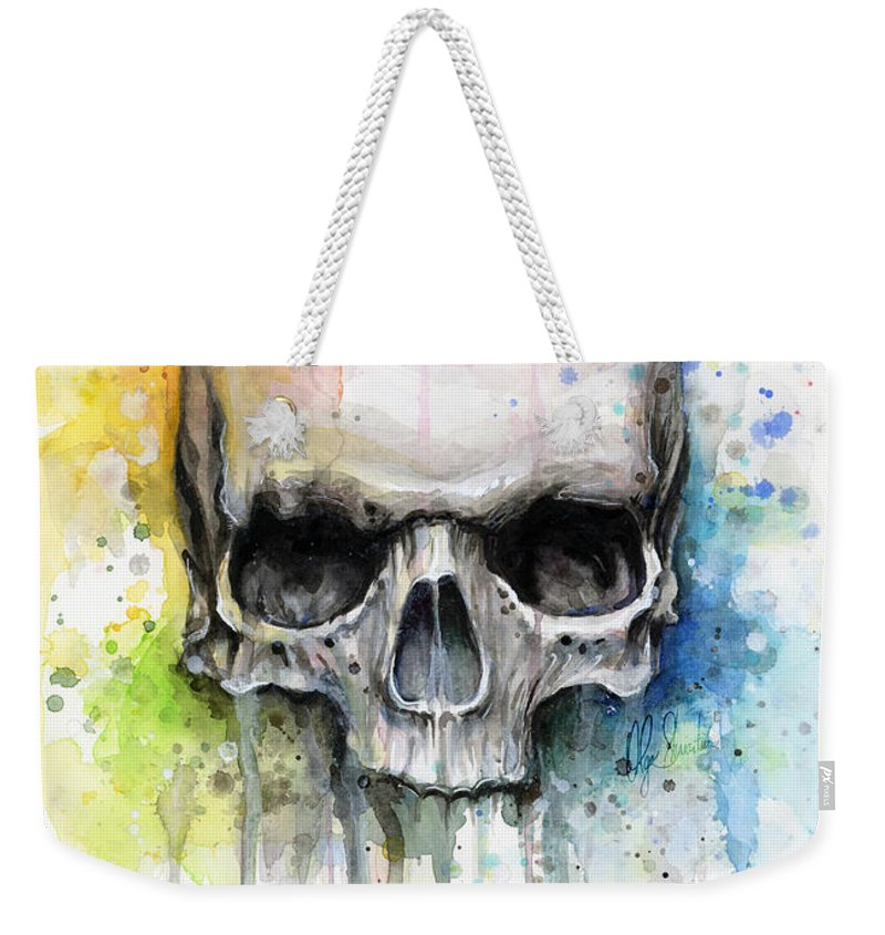 Skull Weekender Tote Bag featuring the painting Skull Watercolor Painting by Olga Shvartsur