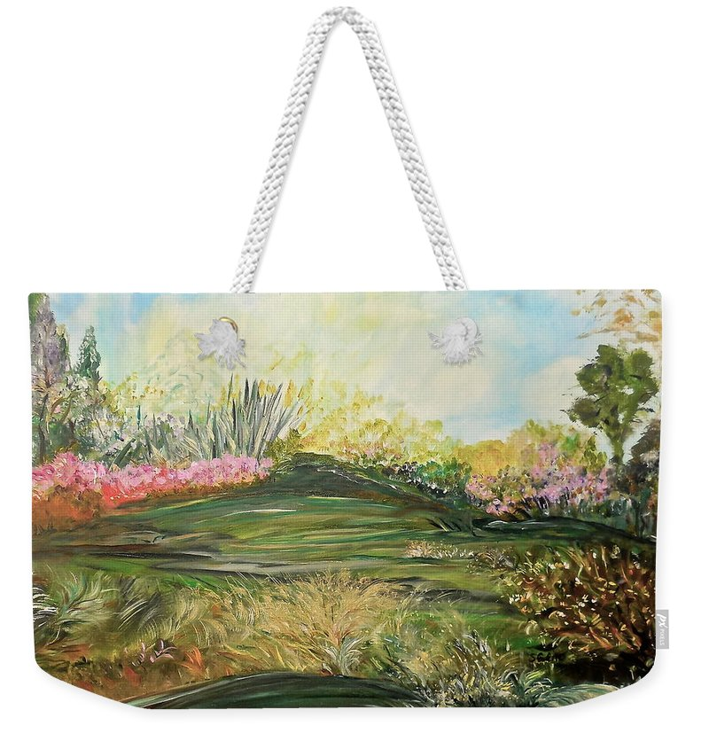 Inspirational Weekender Tote Bag featuring the painting Sky Dazzle by Sara Credito