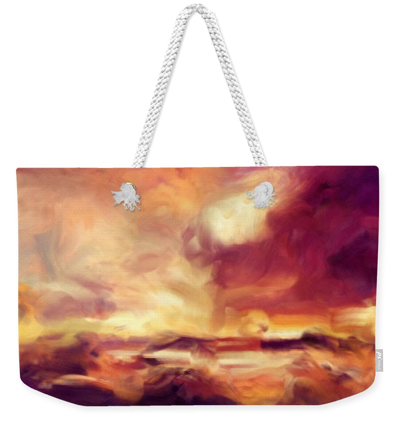 Abstract Weekender Tote Bag featuring the painting Sky Fire Abstract Realism by Georgiana Romanovna