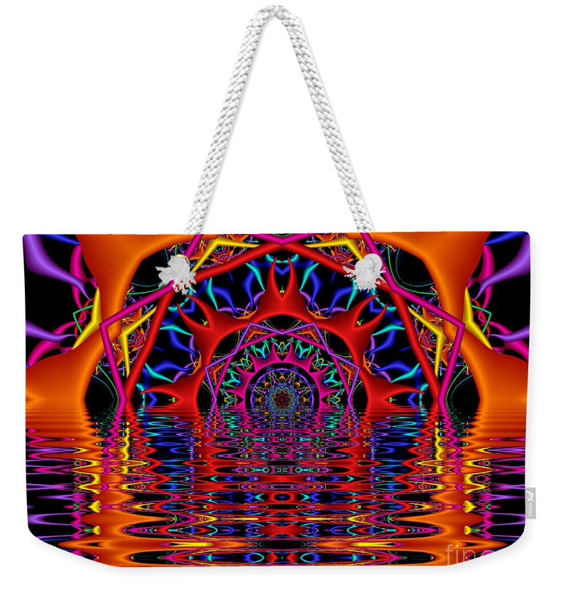 Sky Fire Weekender Tote Bag featuring the digital art Sky Fire by Kimberly Hansen
