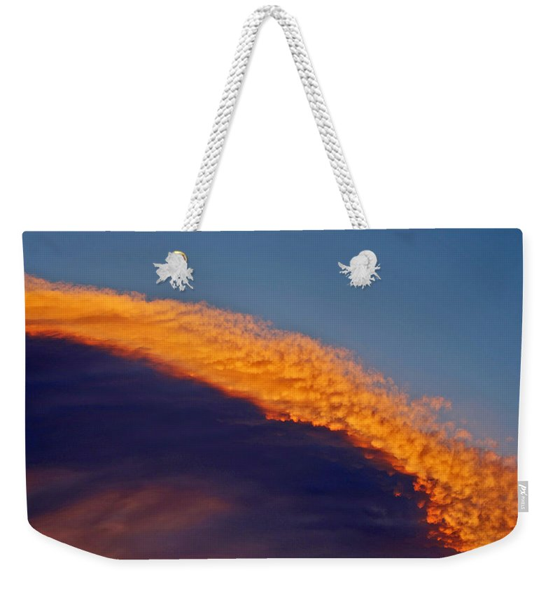 Sun Set Clouds Photographs Weekender Tote Bag featuring the photograph Sky Fire by Mayhem Mediums