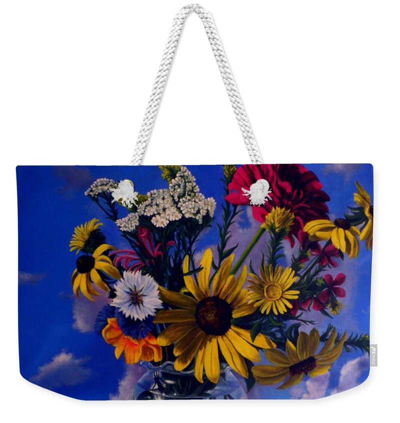 Flower Paintings Still Life Paintings Bouquet Nature Garden Oilpaintings Weekender Tote Bag featuring the painting Sky Flowers by George Tuffy