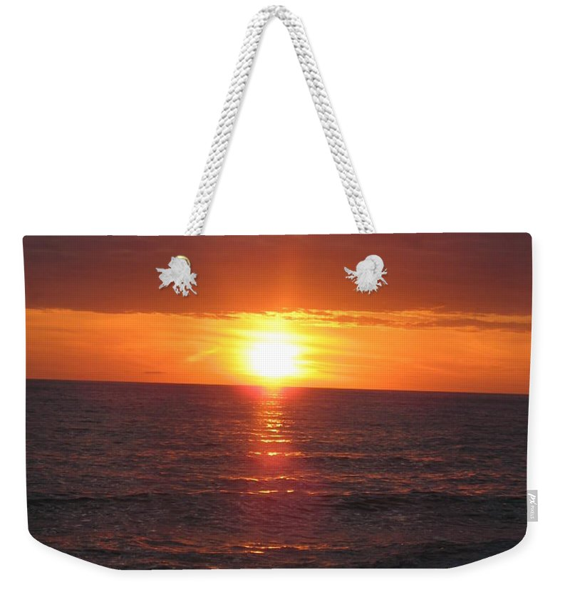 Sunset Weekender Tote Bag featuring the photograph Sky On Fire I by Christiane Schulze Art And Photography