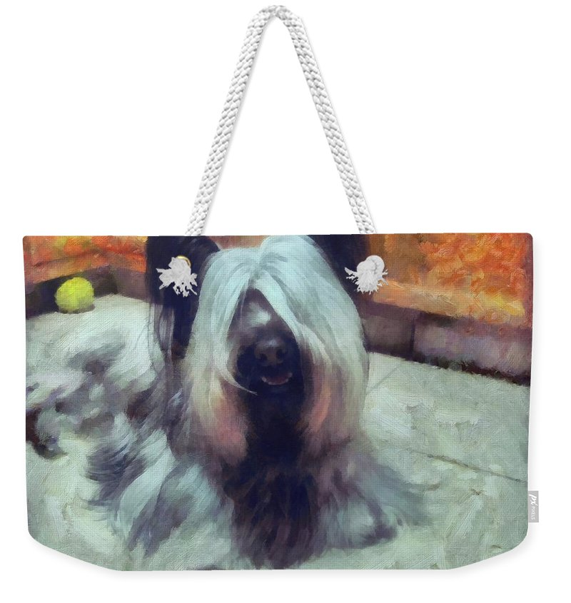 Skye Terrier Weekender Tote Bag featuring the painting Skye Terrier by Janice MacLellan