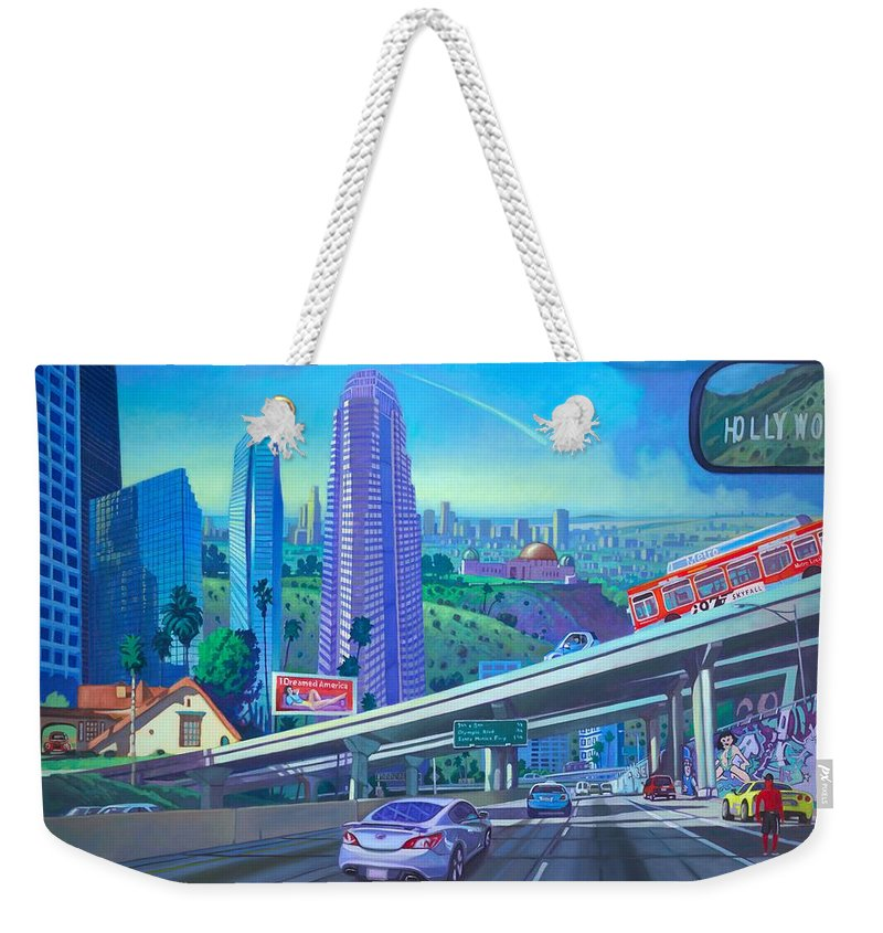Los Angeles Weekender Tote Bag featuring the painting Skyfall Double Vision by Art James West