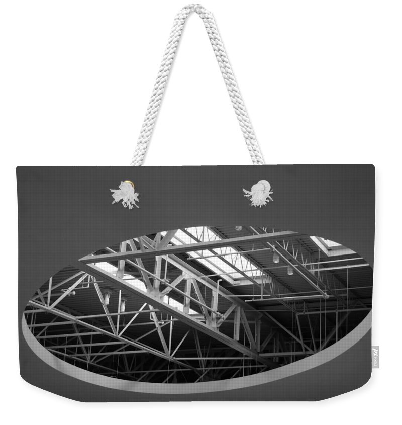 Architecture Weekender Tote Bag featuring the photograph Skylight Gurders In Black And White by Rob Hans