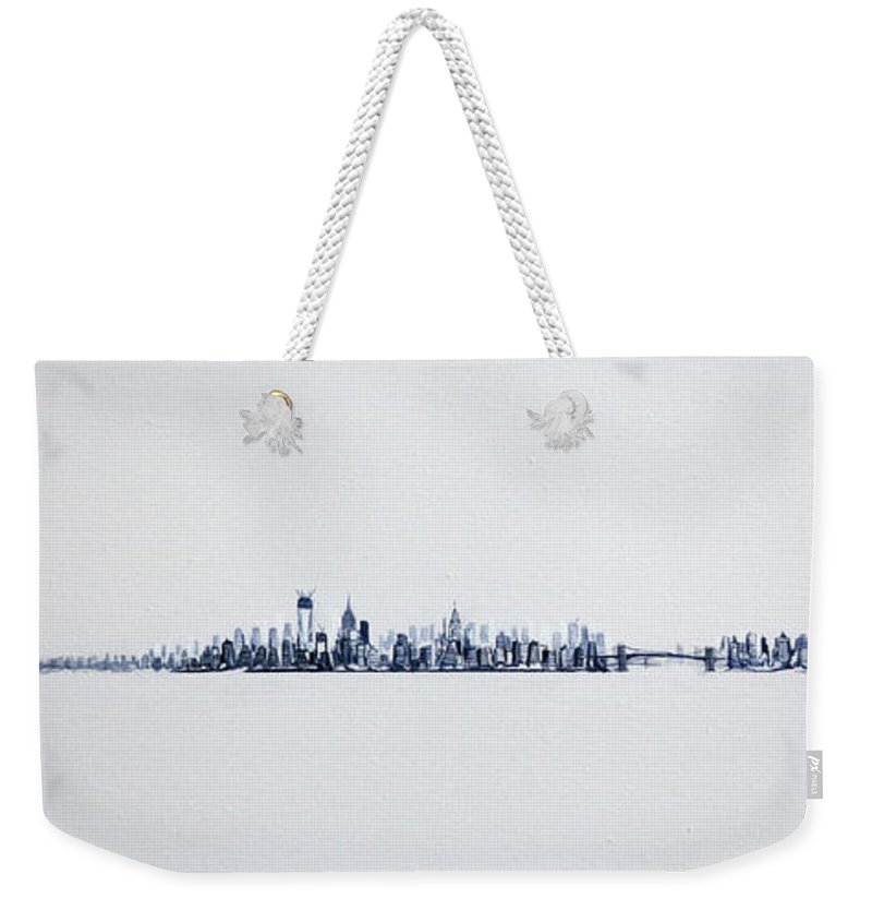 New Weekender Tote Bag featuring the painting Skyline 10x30-2 by Jack Diamond