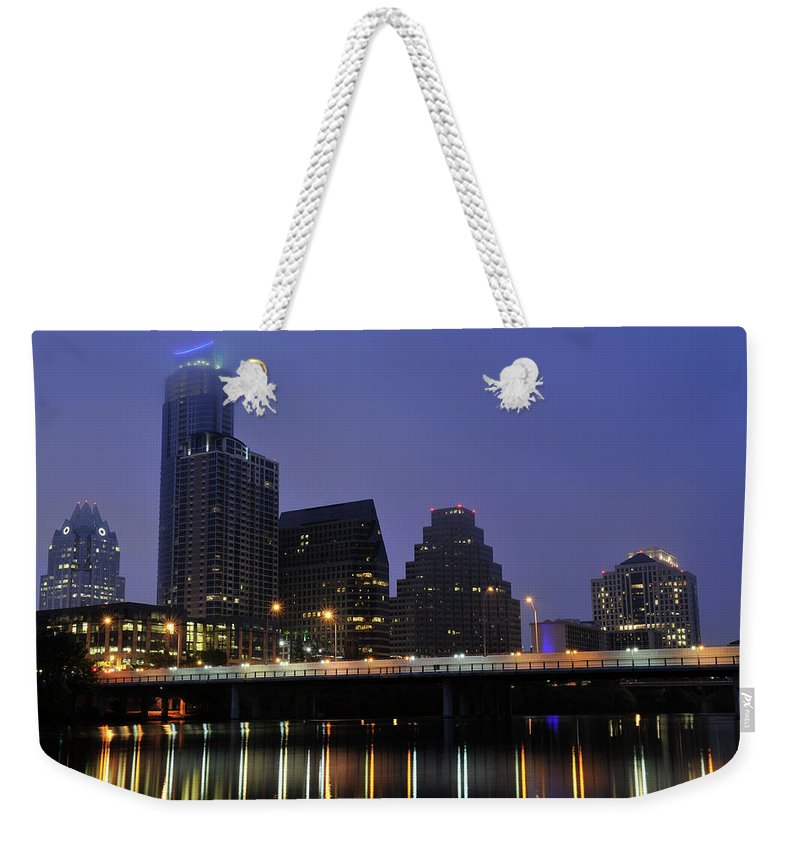 Color Image Weekender Tote Bag featuring the photograph Skyline And Bridge In Austin by Aimintang
